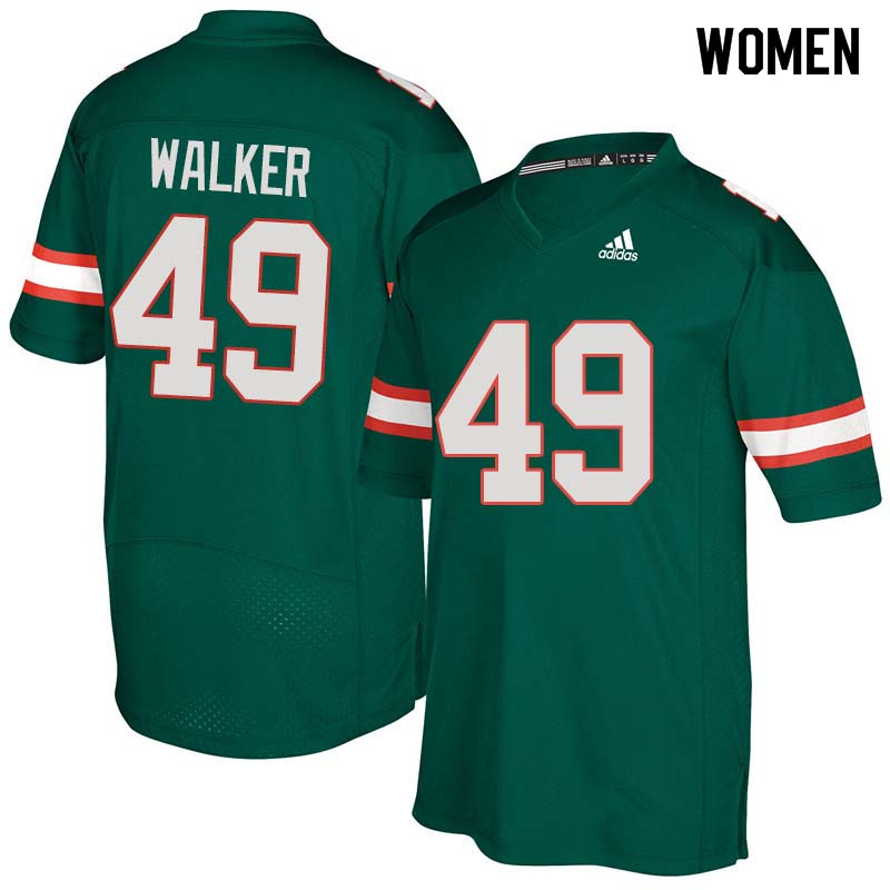 Women Miami Hurricanes #49 Shawn Walker College Football Jerseys Sale-Green
